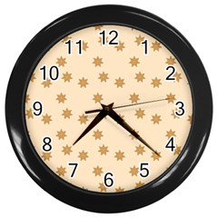 Pattern Gingerbread Star Wall Clocks (black) by Nexatart