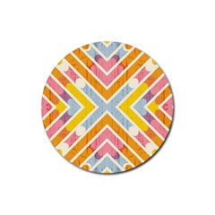 Line Pattern Cross Print Repeat Rubber Coaster (round)  by Nexatart