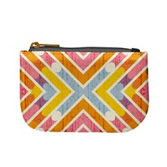 Line Pattern Cross Print Repeat Mini Coin Purses