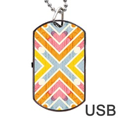 Line Pattern Cross Print Repeat Dog Tag Usb Flash (one Side) by Nexatart