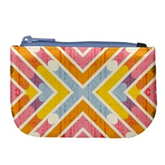 Line Pattern Cross Print Repeat Large Coin Purse by Nexatart