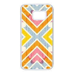 Line Pattern Cross Print Repeat Samsung Galaxy S7 White Seamless Case by Nexatart