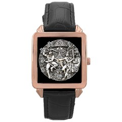 Pattern Motif Decor Rose Gold Leather Watch