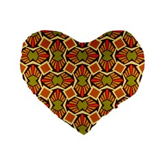 Geometry Shape Retro Trendy Symbol Standard 16  Premium Flano Heart Shape Cushions by Nexatart