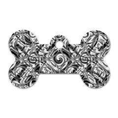 Gray Scale Pattern Tile Design Dog Tag Bone (two Sides)