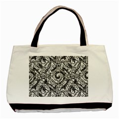 Gray Scale Pattern Tile Design Basic Tote Bag (two Sides)