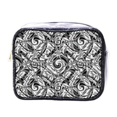 Gray Scale Pattern Tile Design Mini Toiletries Bags by Nexatart