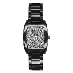 Gray Scale Pattern Tile Design Stainless Steel Barrel Watch