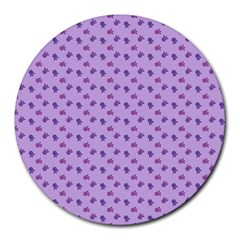 Pattern Background Violet Flowers Round Mousepads by Nexatart