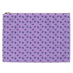 Pattern Background Violet Flowers Cosmetic Bag (xxl)
