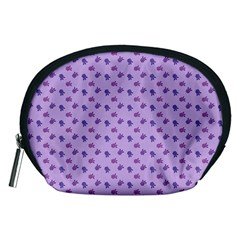 Pattern Background Violet Flowers Accessory Pouches (medium)