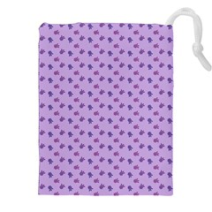 Pattern Background Violet Flowers Drawstring Pouches (xxl)