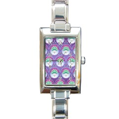 Background Floral Pattern Purple Rectangle Italian Charm Watch by Nexatart