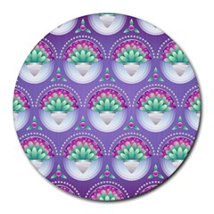 Background Floral Pattern Purple Round Mousepads by Nexatart