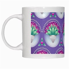 Background Floral Pattern Purple White Mugs by Nexatart