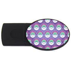 Background Floral Pattern Purple Usb Flash Drive Oval (2 Gb) by Nexatart
