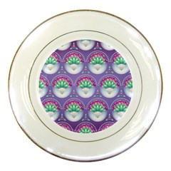 Background Floral Pattern Purple Porcelain Plates by Nexatart