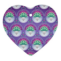Background Floral Pattern Purple Heart Ornament (two Sides)