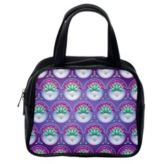 Background Floral Pattern Purple Classic Handbags (one Side) by Nexatart