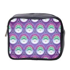 Background Floral Pattern Purple Mini Toiletries Bag 2 Side by Nexatart