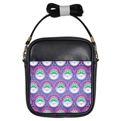 Background Floral Pattern Purple Girls Sling Bags by Nexatart