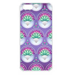 Background Floral Pattern Purple Apple Iphone 5 Seamless Case (white)
