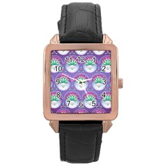 Background Floral Pattern Purple Rose Gold Leather Watch  by Nexatart