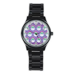 Background Floral Pattern Purple Stainless Steel Round Watch by Nexatart