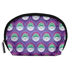 Background Floral Pattern Purple Accessory Pouches (large)  by Nexatart