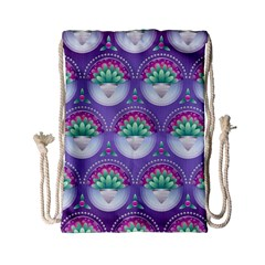 Background Floral Pattern Purple Drawstring Bag (small) by Nexatart