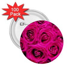 Pink Roses Roses Background 2 25  Buttons (100 Pack)  by Nexatart