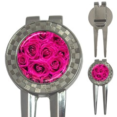 Pink Roses Roses Background 3 In 1 Golf Divots by Nexatart