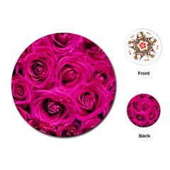 Pink Roses Roses Background Playing Cards (round)  by Nexatart