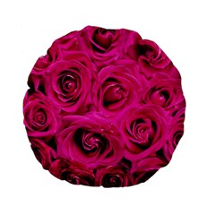 Pink Roses Roses Background Standard 15  Premium Flano Round Cushions