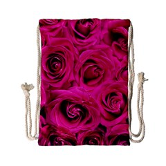 Pink Roses Roses Background Drawstring Bag (small) by Nexatart