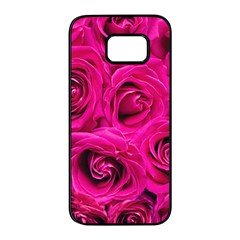 Pink Roses Roses Background Samsung Galaxy S7 Edge Black Seamless Case by Nexatart