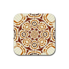 Brown And Tan Abstract Rubber Coaster (square)  by linceazul