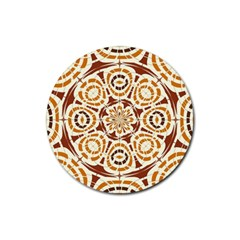 Brown And Tan Abstract Rubber Round Coaster (4 Pack)  by linceazul