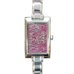 Leaves Pink Background Texture Rectangle Italian Charm Watch by Nexatart