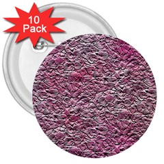 Leaves Pink Background Texture 3  Buttons (10 Pack)