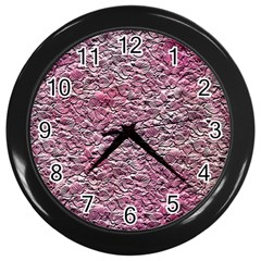 Leaves Pink Background Texture Wall Clocks (black) by Nexatart