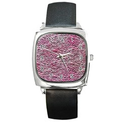 Leaves Pink Background Texture Square Metal Watch by Nexatart