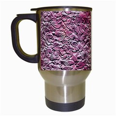 Leaves Pink Background Texture Travel Mugs (white) by Nexatart
