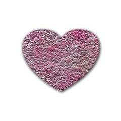 Leaves Pink Background Texture Heart Coaster (4 Pack)  by Nexatart