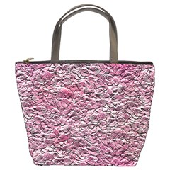 Leaves Pink Background Texture Bucket Bags