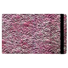Leaves Pink Background Texture Apple Ipad 3/4 Flip Case by Nexatart