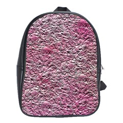Leaves Pink Background Texture School Bags (xl)  by Nexatart