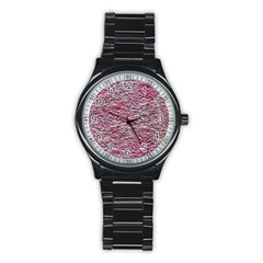 Leaves Pink Background Texture Stainless Steel Round Watch by Nexatart