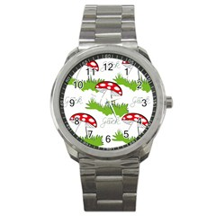 Mushroom Luck Fly Agaric Lucky Guy Sport Metal Watch