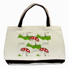 Mushroom Luck Fly Agaric Lucky Guy Basic Tote Bag (two Sides) by Nexatart